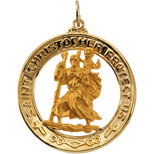 14kt Yellow Gold 29mm Open St. Christopher Medal