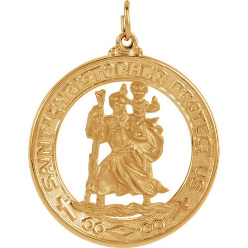 14kt Yellow Gold 38.5mm Open St. Christopher Medal