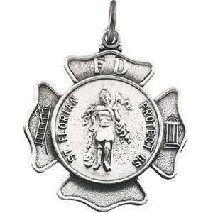 14kt White Gold 1in St. Florian Medal