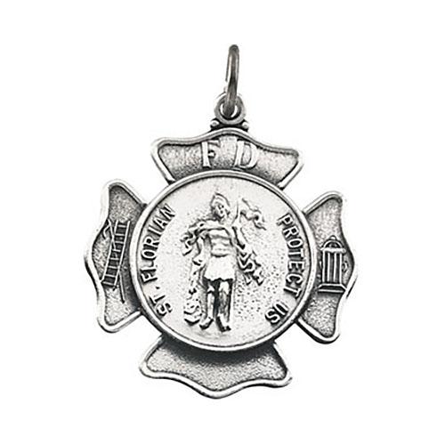 14kt White Gold 1in St. Florian Medal