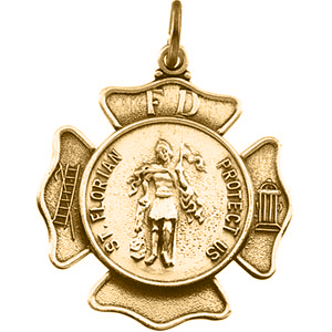 14kt Yellow Gold 5/8in St. Florian Shield Medal