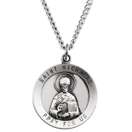 Sterling Silver 18.25mm St. Nicholas Medal & 18in Chain