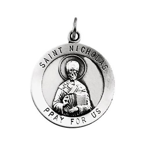 14kt White Gold 18.5mm St. Nicholas Medal