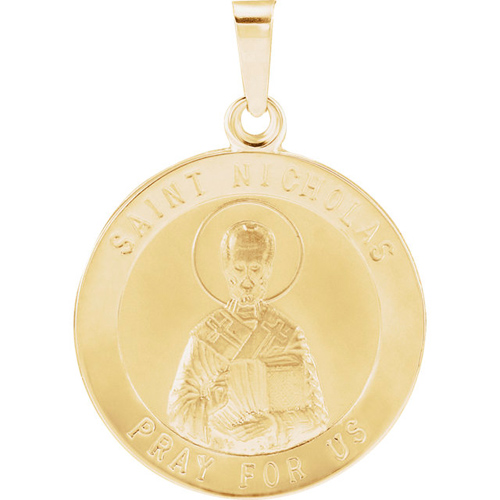 14kt Yellow Gold 18mm St. Nicholas Medal
