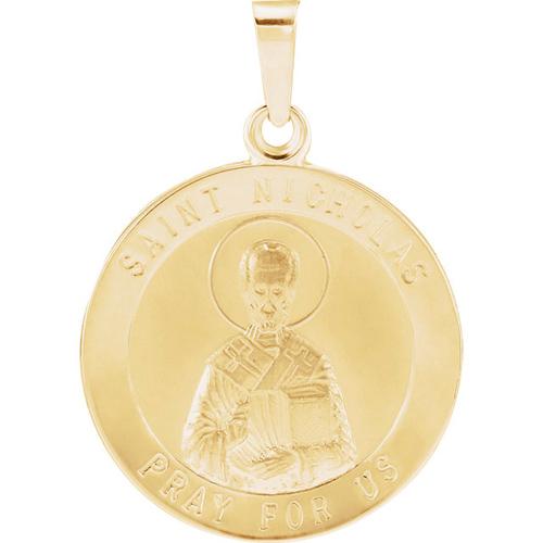 14kt Yellow Gold 18mm St. Nicholas Medal
