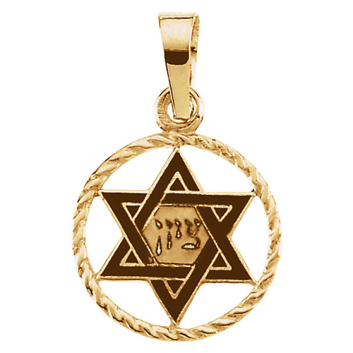 14kt Yellow Gold 1/2in Star of David Black Enamel Charm