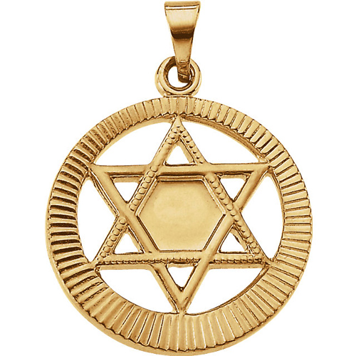 14k Yellow Gold Round Star of David Pendant with Ridges 17mm