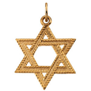 14kt Yellow Gold 1in Braided Star of David Pendant