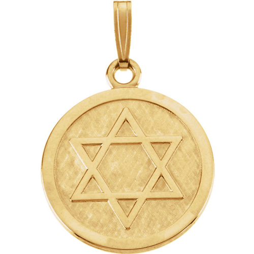 14kt Yellow Gold 7/8in Round Star of David Braided Pendant
