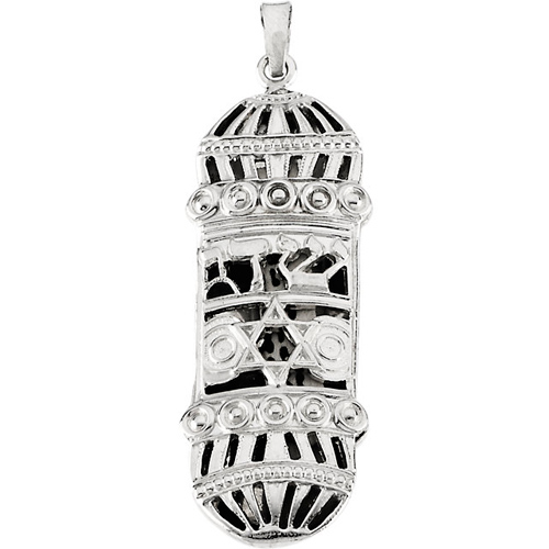 Sterling Silver 1 1/2in Mezuzah Pendant and 18in Chain