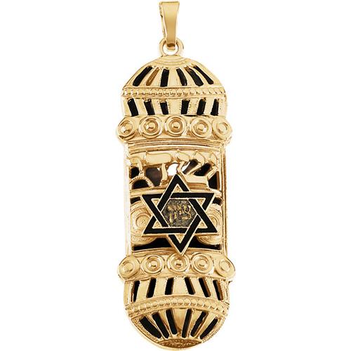 14kt Yellow Gold 1 1/2in Blue Enamel Mezuzah Pendant