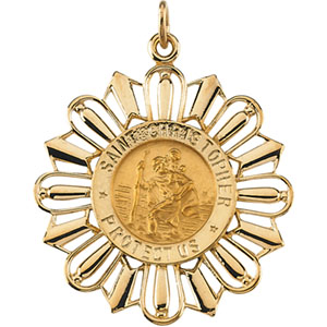 14kt Yellow Gold 30mm Fancy St. Christopher Medal