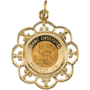 St. Christopher Medal 23x20mm - 14k Yellow Gold