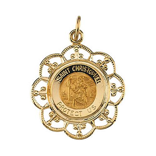 St. Christopher Medal 23x20mm - 14k Gold