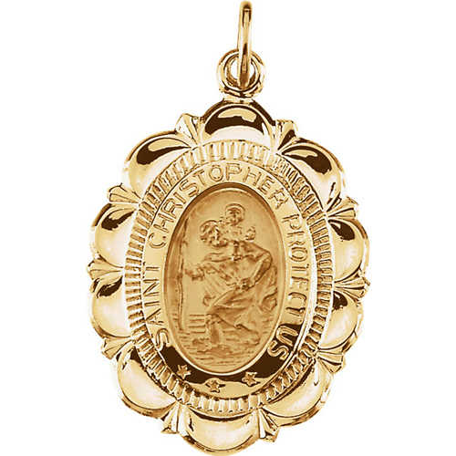 St. Christopher Medal 25x18mm - 14k Yellow Gold