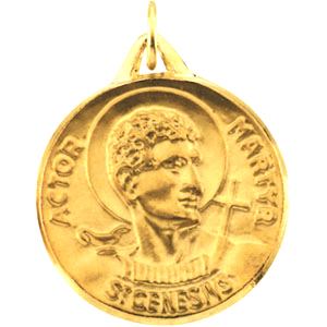 14kt Yellow Gold 23mm St. Genesius Medal - Clearance