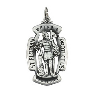 Sterling Silver 30mm St. Florian Fire Fighters Medal & 24in Chain