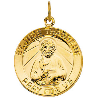 14kt Yellow Gold 3/4in St. Jude Thaddeus Medal