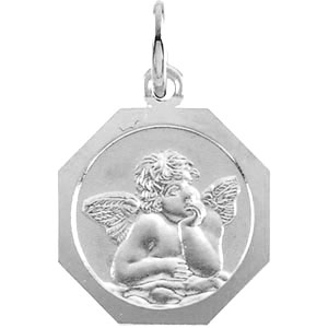 14kt White Gold 8mm Octagonal Angel Charm