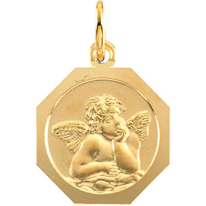 14k Yellow Gold Octagonal Angel Pendant 8mm