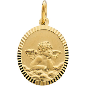 14k Yellow Gold Oval Raphael Angel Pendant 14x12mm
