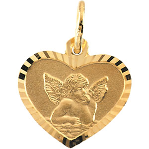14kt Yellow Gold Angel Petite Heart Pendant 7x8mm