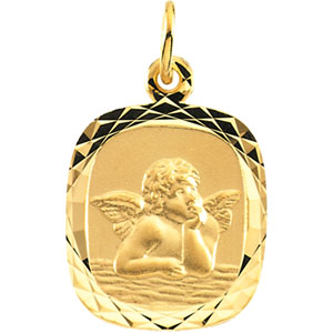 14kt Yellow Gold 14mm Raphael Angel Medal with Fancy Border