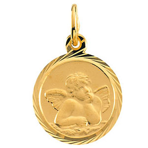 14kt Yellow Gold 8mm Fancy Raphael Angel Charm