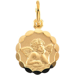 14kt Yellow Gold 1/2in Angel Charm with Wavy Border