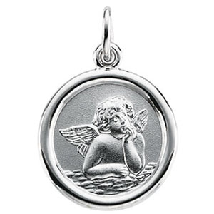 14kt White Gold 10mm Raphael Angel Charm