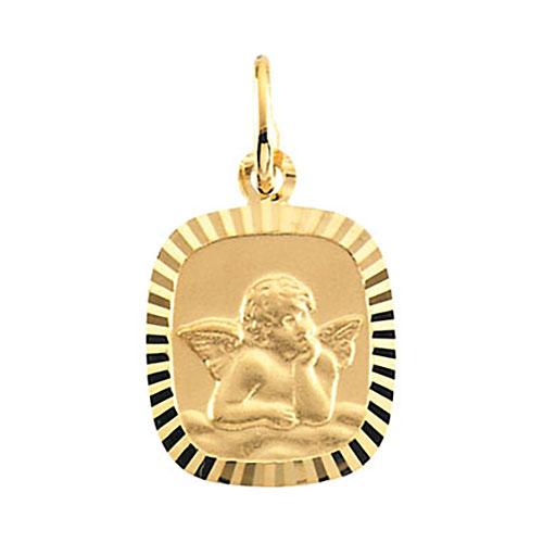 14kt Yellow Gold 1/2in Oblong Raphel Angel Pendant
