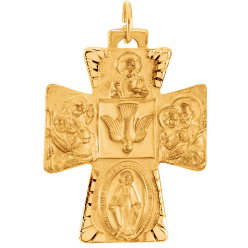 14kt Yellow Gold 1in Four Way Holy Spirit Medal