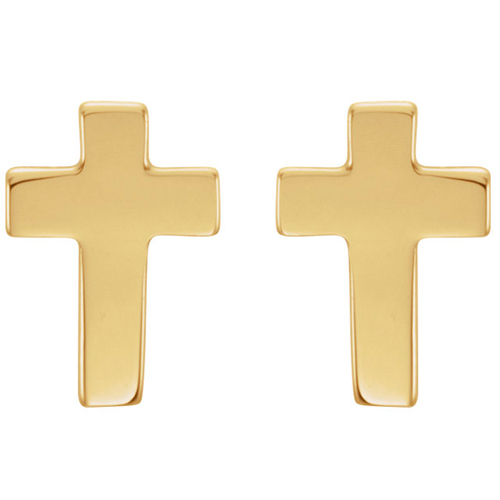 14kt Yellow Gold Petite Smooth Cross Earrings