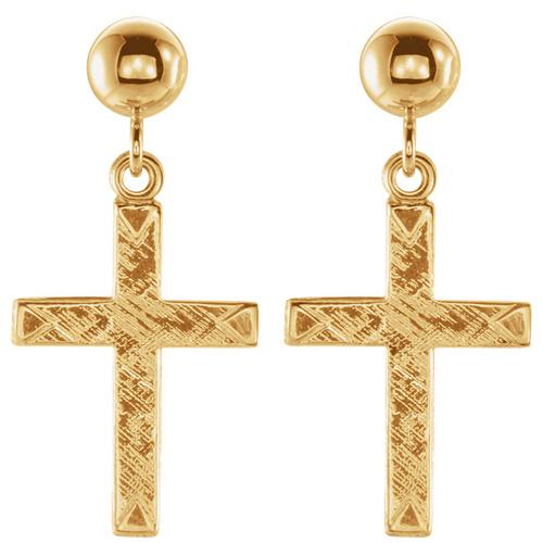 14kt Yellow Gold Cross Dangle Ball Earrings 11x8mm