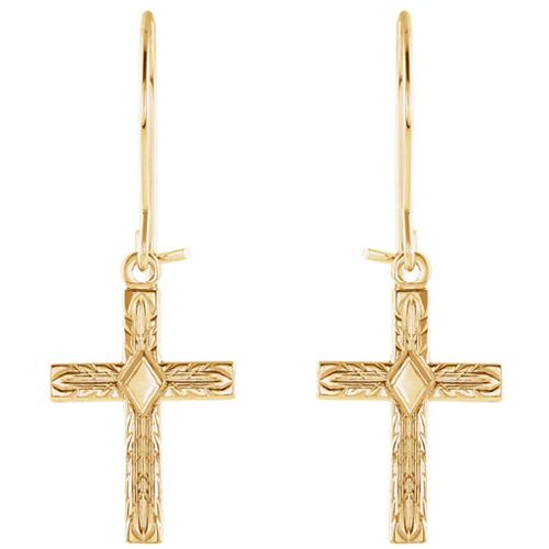 14kt Yellow Gold 1/2in Cross Dangle Earrings