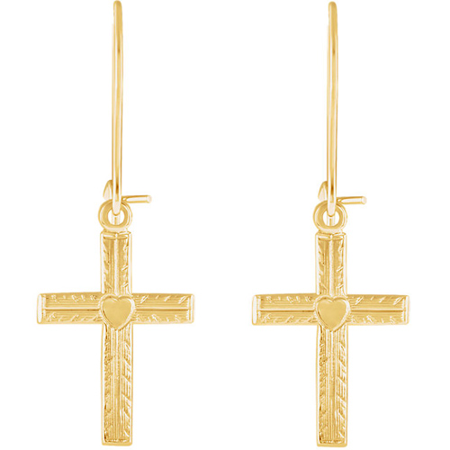 14kt Yellow Gold 1/2in Cross Heart Dangle Earrings