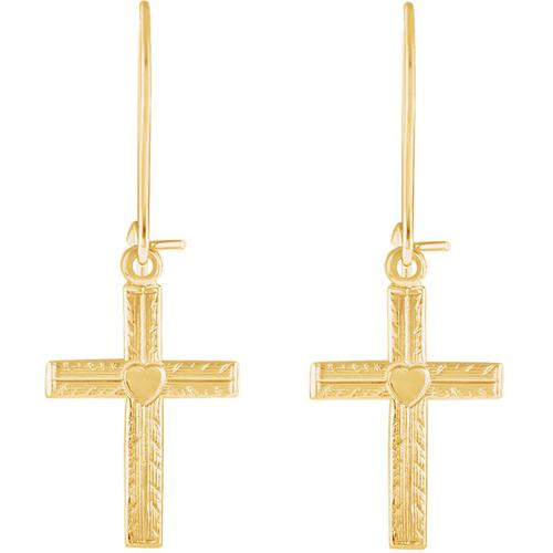 14kt Yellow Gold 13x10mm Cross Heart Dangle Earrings