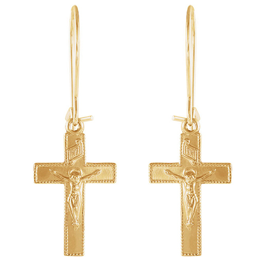 Crucifix Earwire Earrings - 14kt Yellow Gold