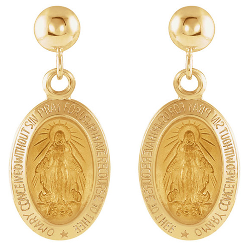 14k Yellow Gold Miraculous Medal Dangle Earrings