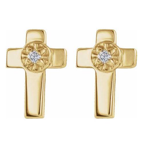 14k Yellow Gold .005 ct tw Diamond Cross Earrings 7x5mm
