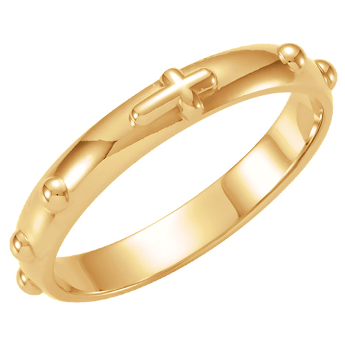 14kt Yellow Gold 4mm Rosary Ring