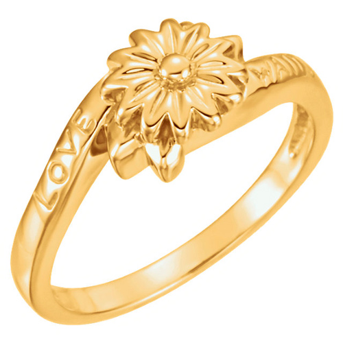 14kt Yellow Gold Love Waits Chastity Ring Size 7