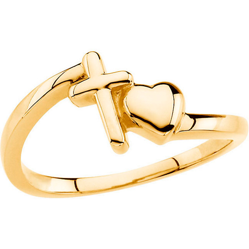 14kt Yellow Gold Cross and Heart Chastity Ring Size 7