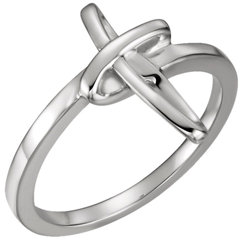 14kt White Gold Chastity Ring with Abstract Cross
