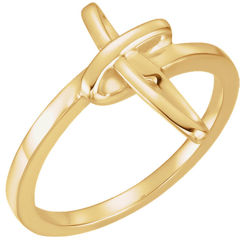14kt Yellow Gold Chastity Ring with Abstract Cross