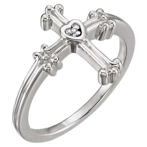 14kt White Gold Chastity Cross Ring with Diamond