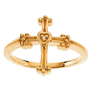 14KY Gold Chastity Ring with Diamond