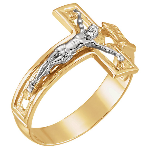 14k Two-tone Gold Men's Crucifix Ring Size 11