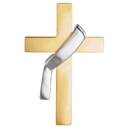 14kt Two-tone Gold 7/8in Deacon Cross Lapel Pin