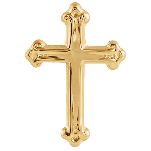 14kt Yellow Budded Cross Lapel Pin